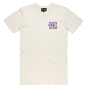 Handcrafted in Upstate New York - this ultra-comfortable tee is perfect for any occasion. Custom design is printed on the front and back of this off-white tee.  Only Found at 518 Prints