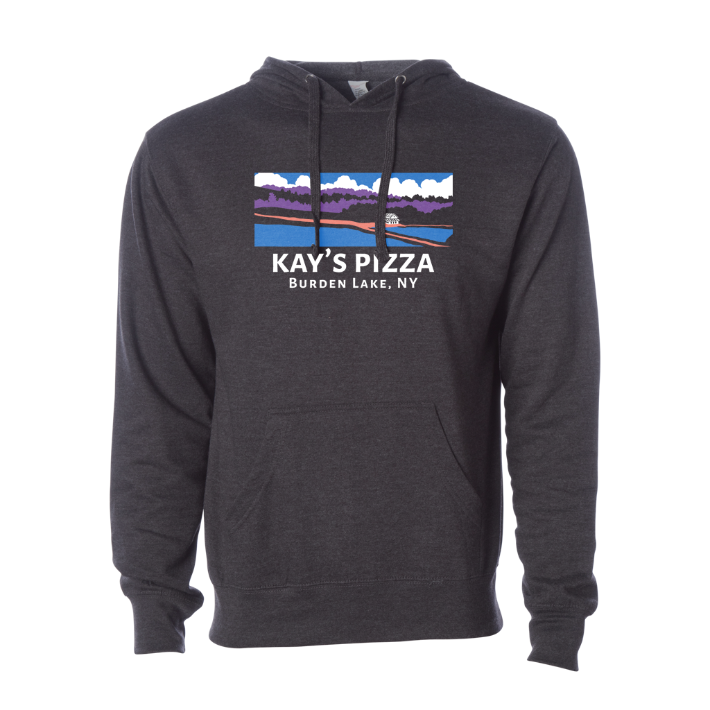 Kay's Pizza's Landscape multi-color design printed on the front of a mid-weight unisex pullover hoodie in charcoal heather.  Hoodie specs include: 8.5 oz., 55/45 cotton/polyester, standard fit, jersey lined hood, split-stitched double-needle sewing on all seams, twill neck tape, 1x1 ribbing at cuffs & waistband, metal eyelets, front pouch pocket, and a tearaway label.