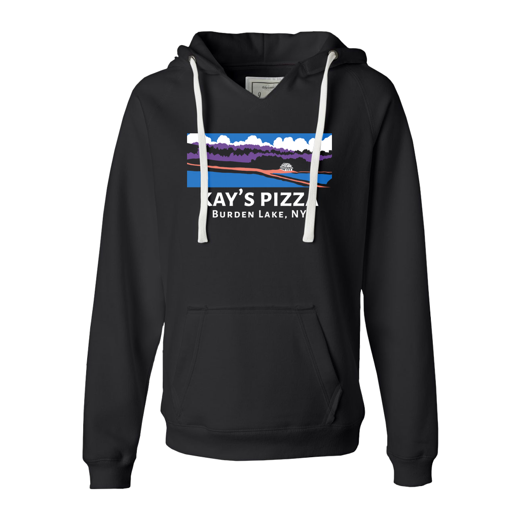 Kay's Pizza's Landscape multi-color design printed on the front of a sueded womens v-neck pullover hoodie in black.  Hoodie specs include: 9.0 oz., 60/40 cotton/polyester brushed fleece, thick white drawcord, 2x1 rib trim on waistband and cuffs, and raw-edge seams around hood opening, pocket seams and neckline.