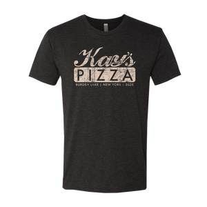 Kay's Pizza's Vintage Logo design printed on the front and back of a black unisex tee shirt.