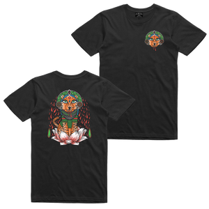 Show off your inner tiger with our Mandala Tiger tee! Printed in vibrant multicolor on the front and back of a black tee.  Original illustration by Carlos Cardenas (IG: @carlosxcardenas)  Only Found at 518 Prints