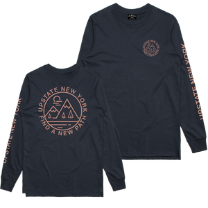 "Find your new path in our original design ""Find A New Path"" design, printed on the front, back, and left sleeve of a navy blue longsleeve tee.  Only Found at 518 Prints"