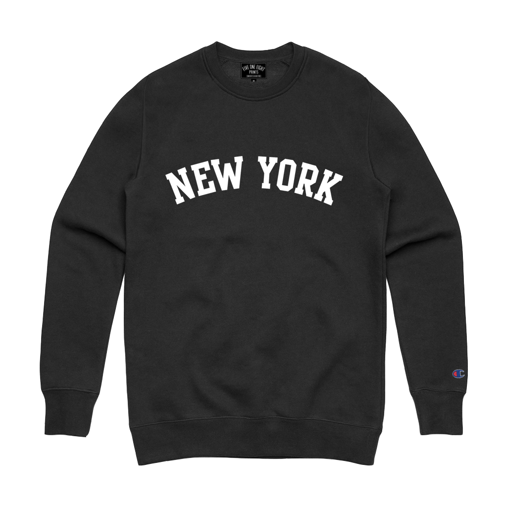 "Rep your state in our original ""New York Arch"" crewneck sweatshirt. This crew features white flocked print on a black Champion Apparel sweatshirt.  Only Found at 518 Prints"