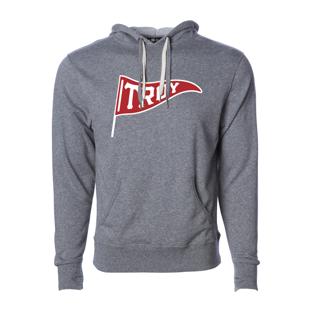 "One of our most popular designs! This hoodie features our original ""Troy Pennant"" design, printed across the chest of a salt-and-pepper colored pullover hooded sweatshirt. This hoodie features a unique double pull tie in cream and grey, so you can choose your color scheme - or use both!  Only Found at 518 Prints"