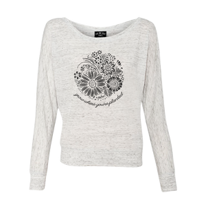 PLANTED CIRCLE FLOWER FLOWY LONG SLEEVE WHITE MARBLE