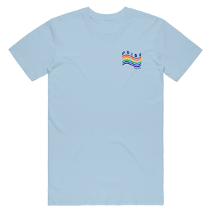 "Love is love is love. Our 2019 Pride Month tee features a minimalist rainbow with the words ""Pride"" and ""Troy NY"" on the front left chest of a light blue tee.  Only found at 518 Prints"