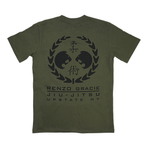 "Renzo Gracie Latham's ""Upstate Laurel"" design, printed on the front and back of an army green AS Colour tee.  Tee features include relaxed fit; crew neck; heavy weight, 6.5 oz, 22-singles; 100% combed cotton; neck ribbing; side-seamed; shoulder to shoulder tape; double-needle hems; preshrunk to minimize shrinkage."