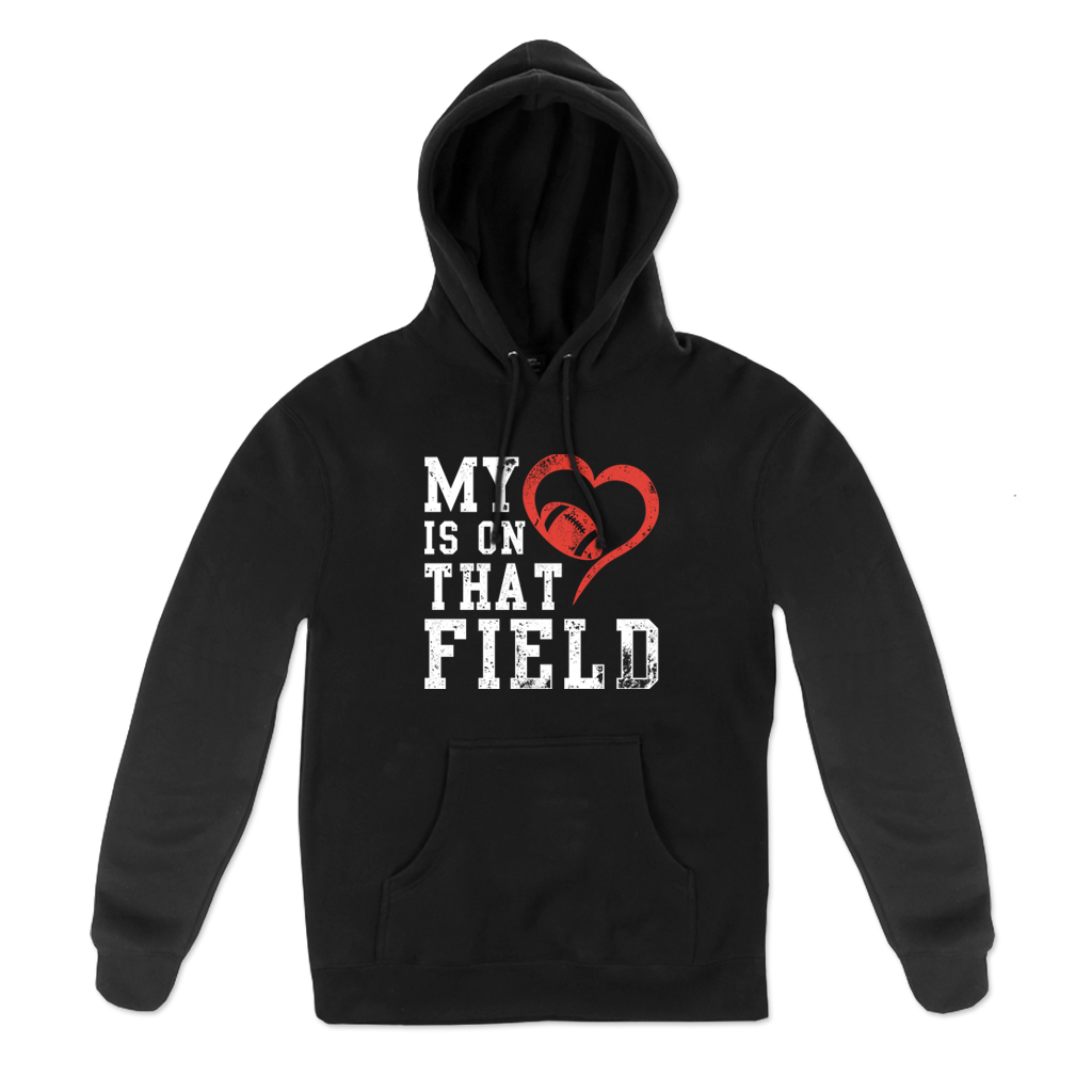 """My Heart"" Pull Hood for Rotterdam Pop Warner featuring the phrase, ""My heart is on that field,"" on the front of a black unisex Gildan brand pullover hoodie  Hoodie features include 8 oz. 50/50 preshrunk cotton/polyester; air jet yarn for a softer feel and reduced pilling; double-lined hood with color-matched drawcord; double needle stitching at shoulder, armhole, neck, waistband and cuffs; pouch pocket; 1 x 1 rib with spandex; quarter-turned to eliminate center crease; and a tearaway label."