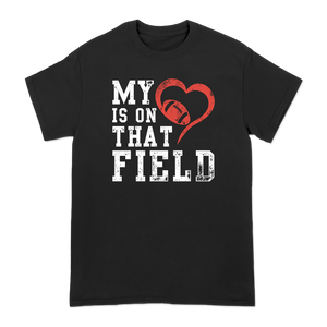 """My Heart"" Tee for Rotterdam Pop Warner featuring the phrase, ""My heart is on that field,"" on the front and Rotterdam Pop Warner across the shoulder blades on a black unisex Gildan brand heavy cotton tee shirt.  Tee features include 5.3 oz., 100% preshrunk cotton; classic fit; seamless double needle 7/8"" collar; taped neck and shoulders; double needle sleeve and bottom hems; quarter-turned to eliminate center crease; and a tearaway label."