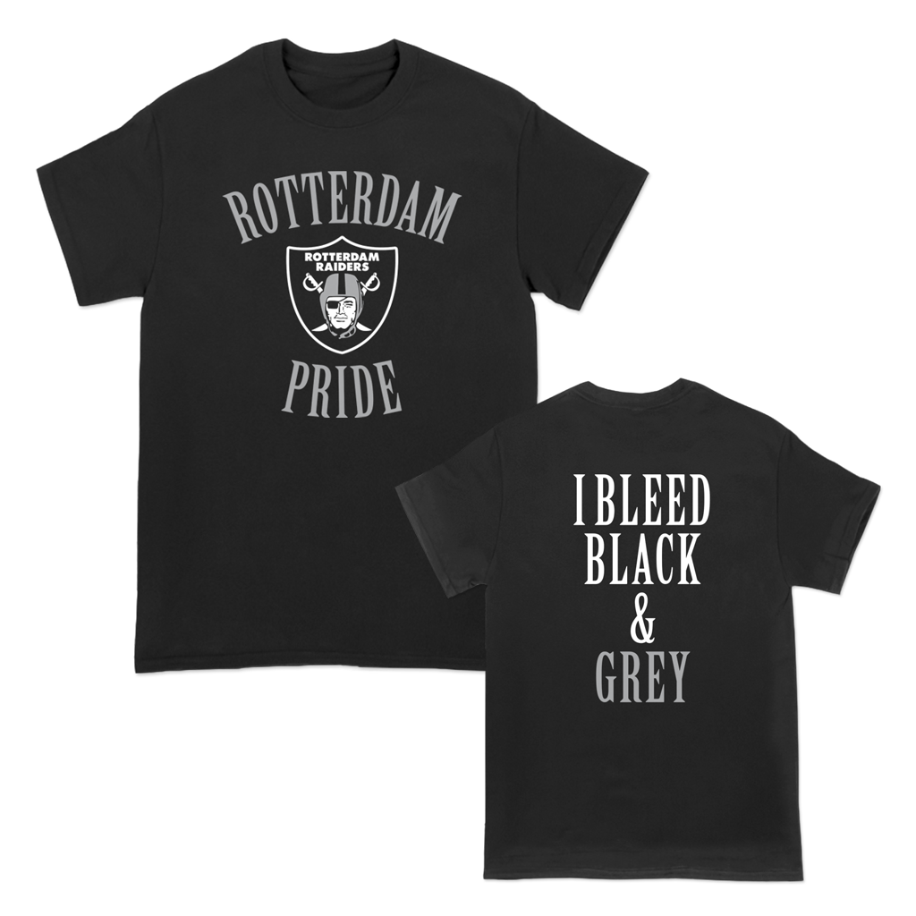 """Raiders Bleed Black & Grey"" Tee for Rotterdam Pop Warner featuring ""Rotterdam Pride"" with the Rotterdam Raiders emblem on the front and the phrase, ""I Bleed Black & Grey"" on the back of a black unisex Gildan brand heavy cotton tee.  Tee features include 5.3 oz., 100% preshrunk cotton; classic fit; seamless double needle 7/8"" collar; taped neck and shoulders; double needle sleeve and bottom hems; quarter-turned to eliminate center crease; and a tearaway label."