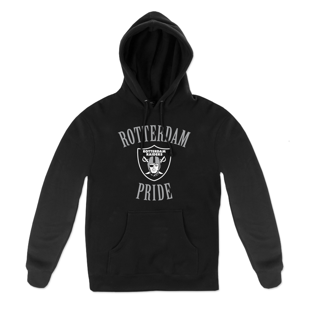"""Rotterdam Pride"" Pullover Hood in Black for Rotterdam Pop Warner featuring ""Rotterdam Pride"" with the Rotterdam Raiders emblem on the front of a black unisex Gildan brand pullover hoodie."
