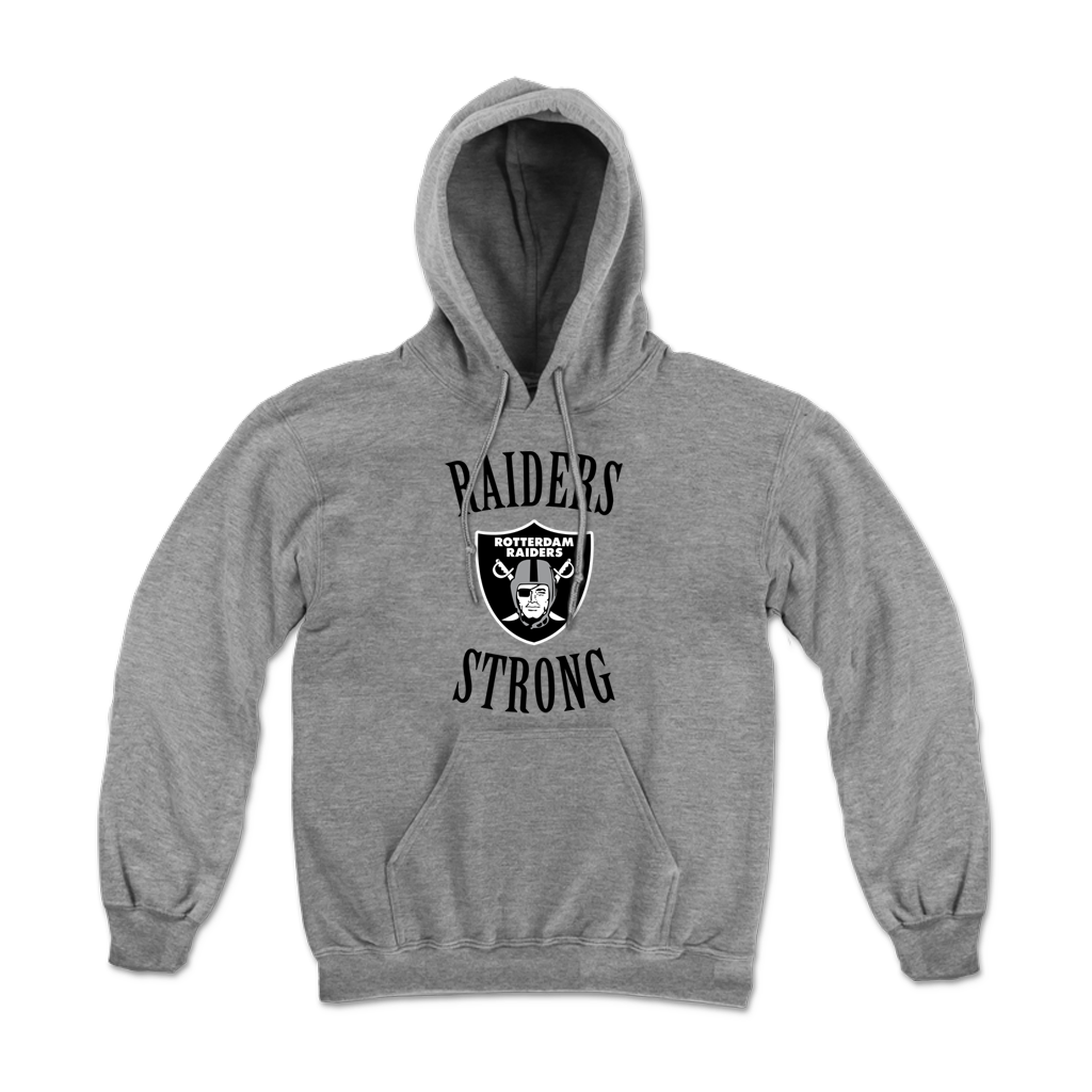 """Raiders Strong"" Pull Hood for Rotterdam Pop Warner featuring the phrase, ""Raiders Strong"" and the Rotterdam Raiders emblem on the front of a unisex Gildan brand pullover hoodie in sport grey."