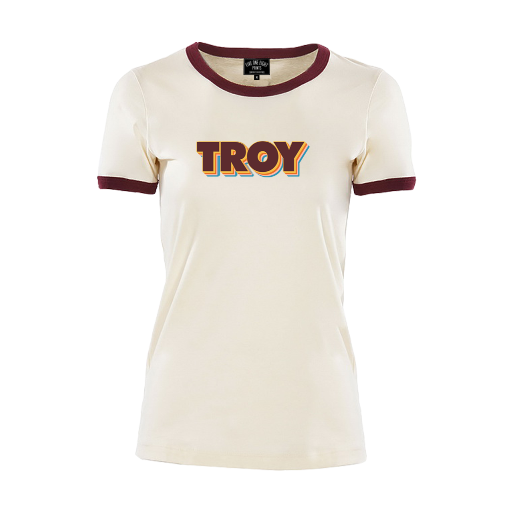 TROY STACK WOMEN'S RINGER TEE NATURAL/MAROON