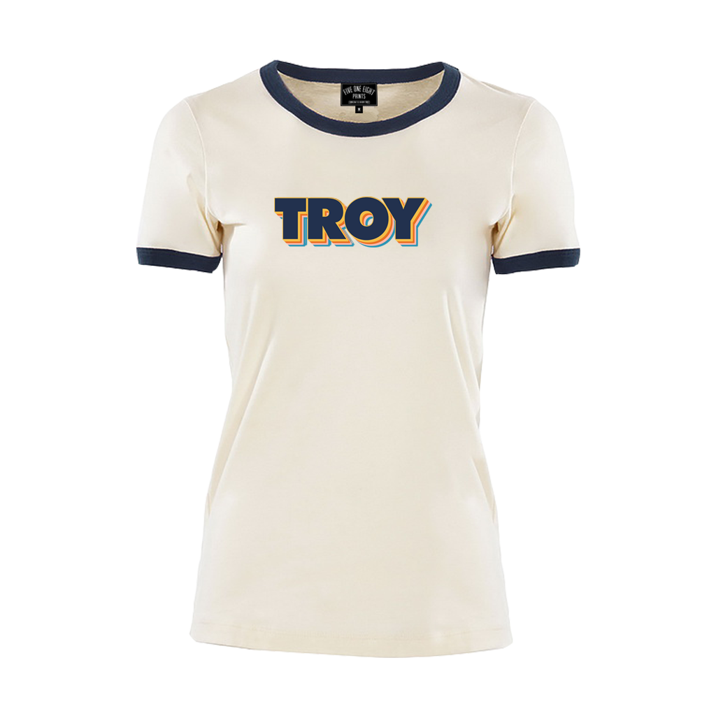 TROY STACK WOMEN'S RINGER TEE NATURAL/NAVY