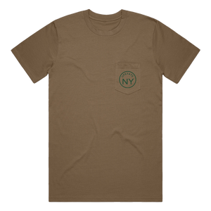 "If you haven't guessed, we're big fans of Upstate NY and think it's the best place in the world. Rock your Upstate roots (or just your love for the area!) in our custom ""Upstate Circle"" pocket tee in dark khaki. Printed on the back and front pocket in green ink.  Only found at 518 Prints"