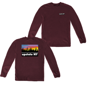 UPSTATE PRINT LONGSLEEVE HEATHER MAROON