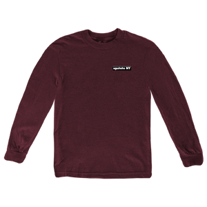 "Our Upstate Patch design, printed on the back of a shirt! Design features a stylized sunset behind a forest skyline with the words ""Upstate NY"" in contrasting white. Printed on the front and back of a ringspun, heather maroon long sleeve tee.  Only found at 518 Prints"