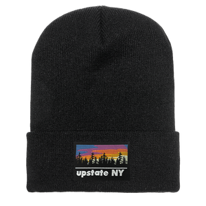 UPSTATE NY PATCH BEANIE IN BLACK