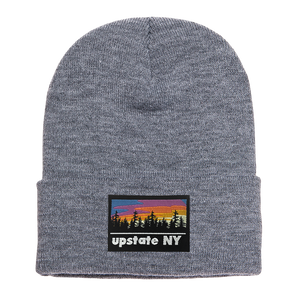 UPSTATE NY PATCH BEANIE IN GRAY