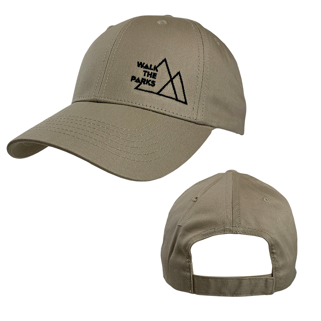 Walk The Parks's logo embroidered in black on the front of a khaki adjustable structured cotton twill cap.  Cap features include 100% cotton twill fabric; structured, 6-panel, low-profile construction; front panel constructed with buckram, and a matching hook and loop closure.