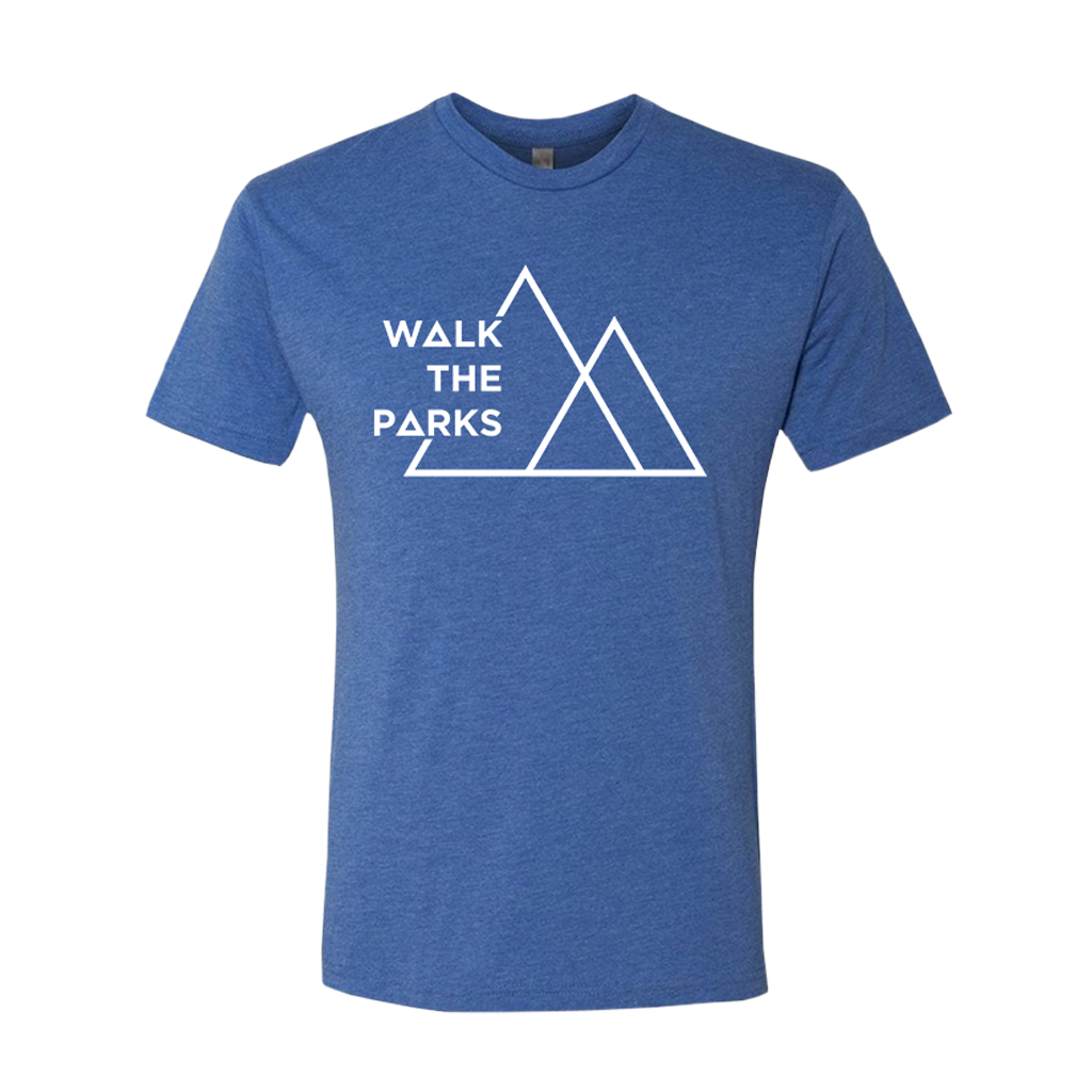 "Walk The Parks's logo, printed in white on the front of a blue American Apparel tee. Tee features include: 4.3oz/yd2, 100% combed ring-spun cotton, 30 singles; shoulder-to-shoulder tape and 7/8"" seamed collar; 1"" double-needle sleeve and bottom hem."