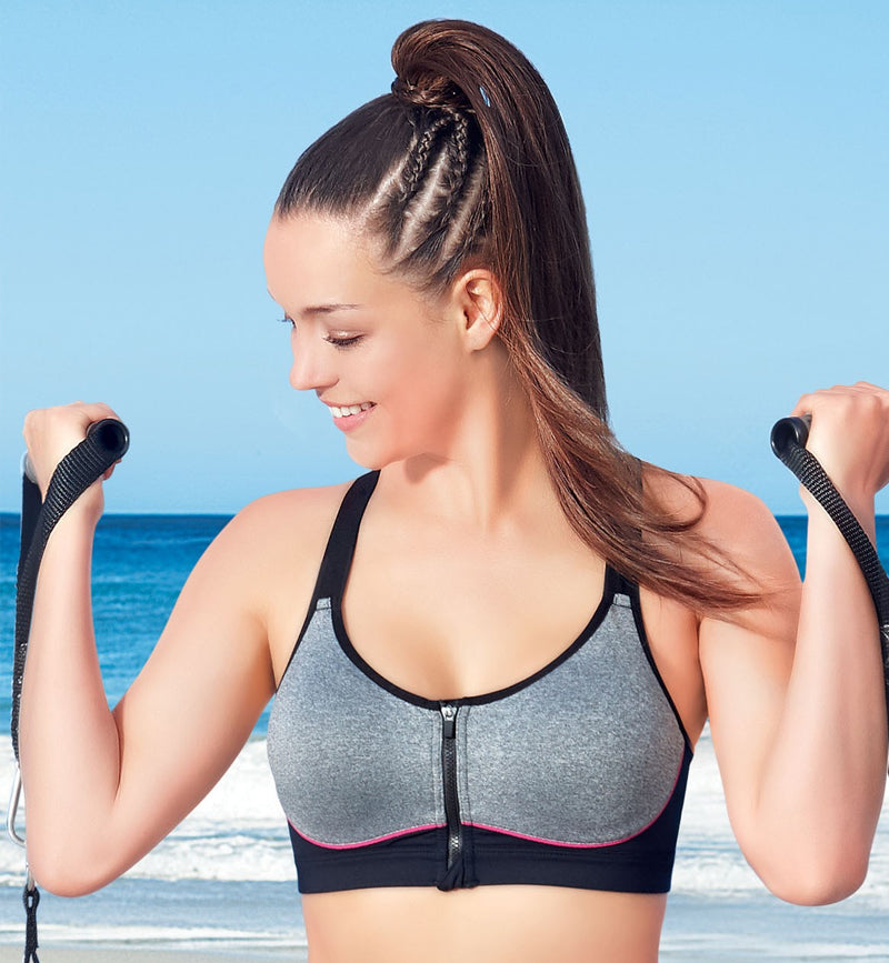 ccee6410fa7a7 Enamor High Impact Sports Bra - Padded • Wirefree • Front Zipper - Grey