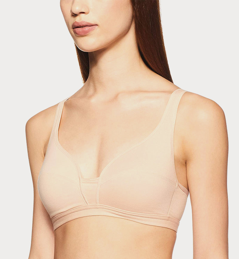 bd473baccd0c8 Triumph Cotton Padded Non Wired Low Coverage Bra - Skin