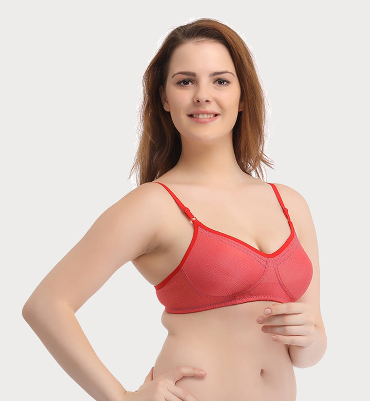 72ff69a534b7c Zulee Padded Wirefree T-Shirt Bra - Red