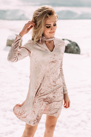 Iridescence Pastel Pink Velvet Dress