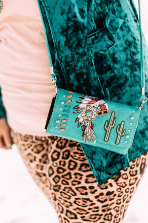 Cactus and Feather Headpiece Clutch Purse