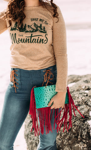 Hide/Gator Clutch with Fringe