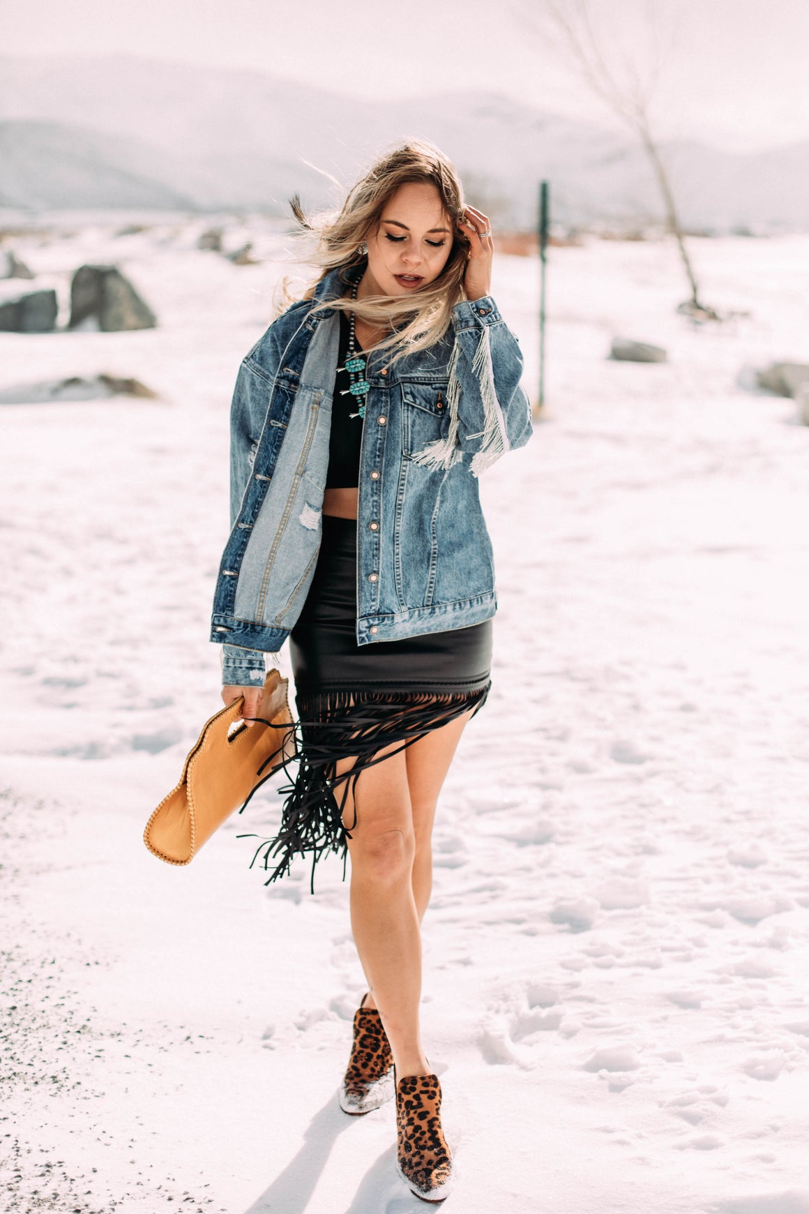 Beaded Fringe Distressed Denim Jacket