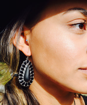 Western Black Concho Earrings