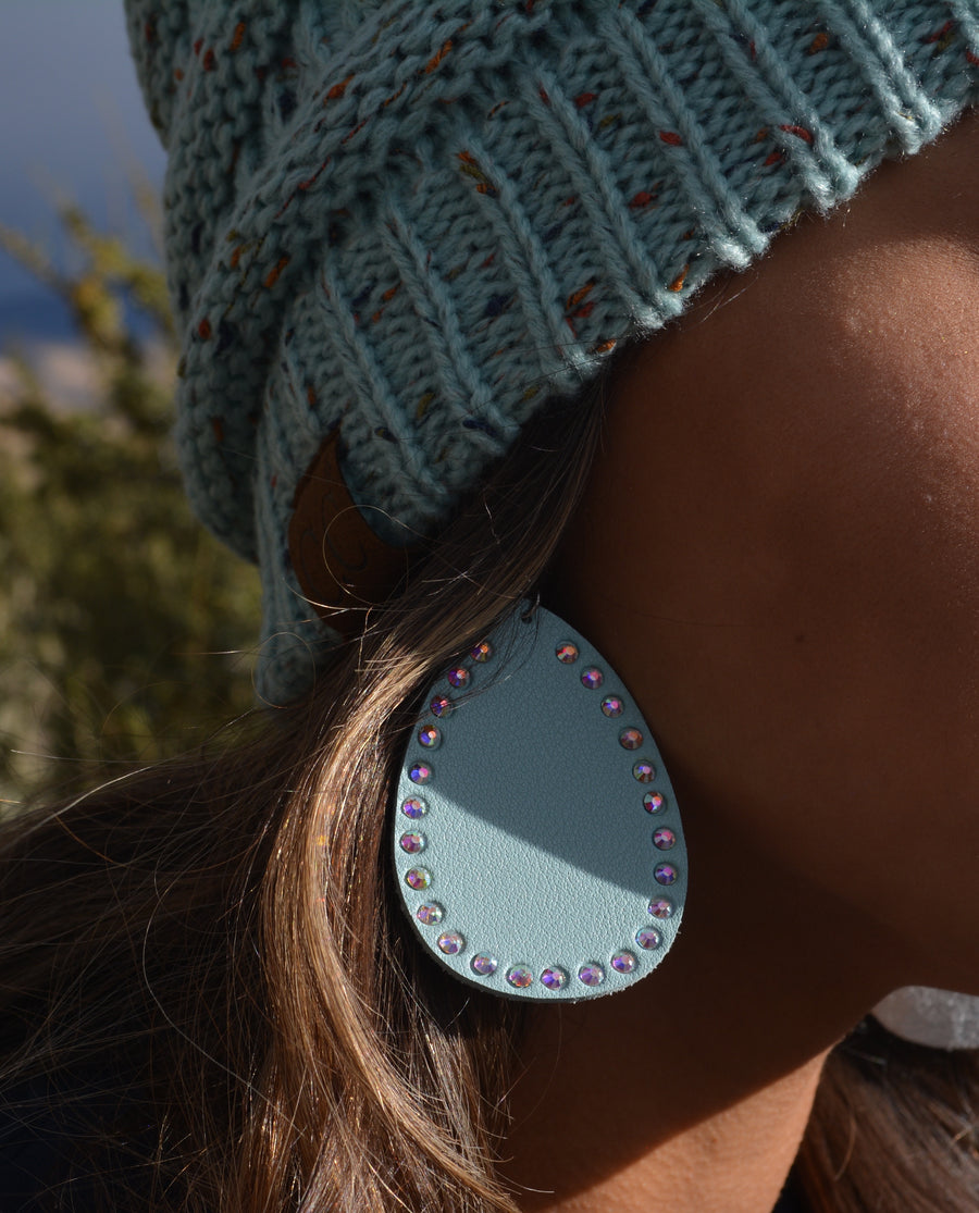 Teardrop Leather Blue Studded Earrings