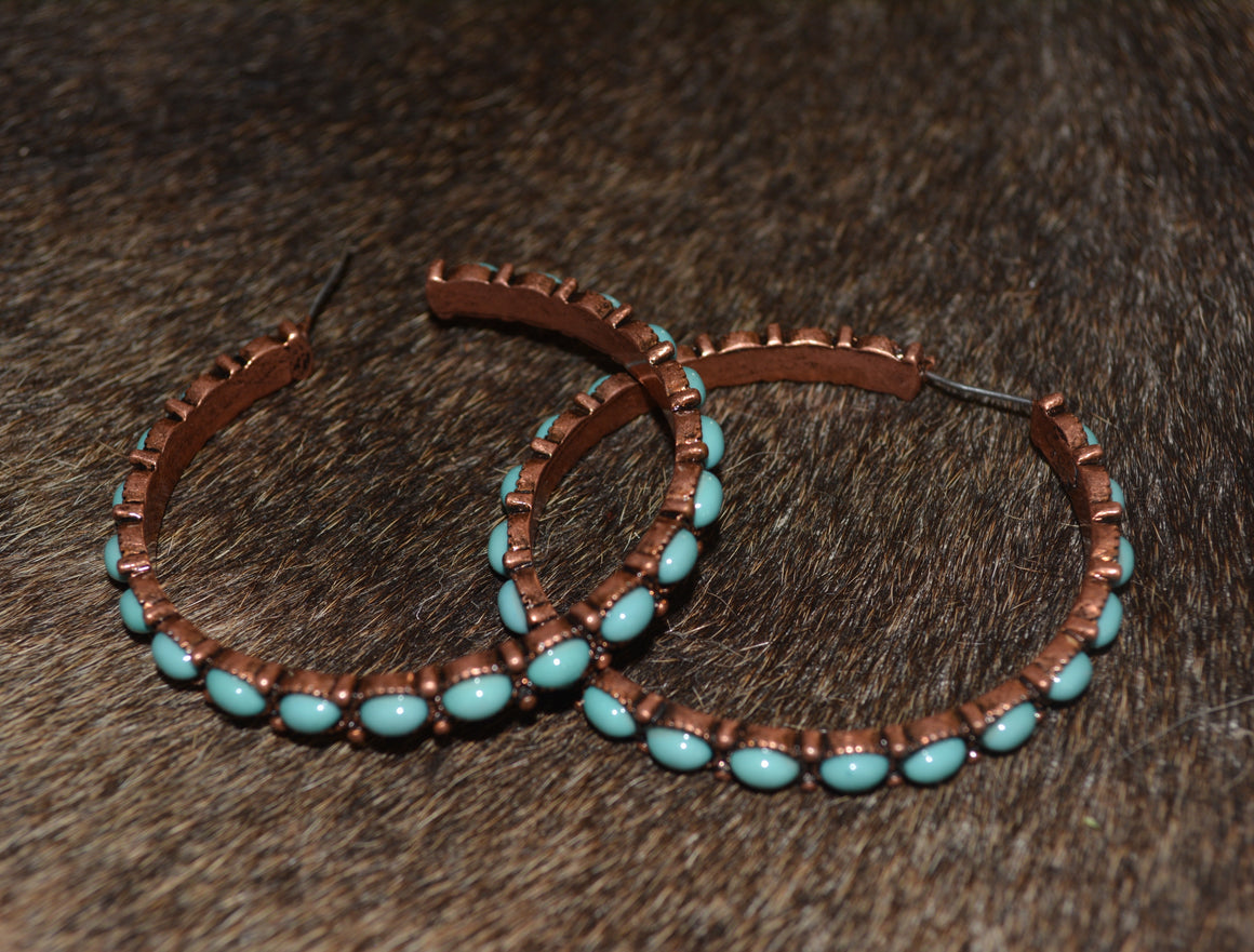 "2"" Navajo Style Texture Hoop Earrings"