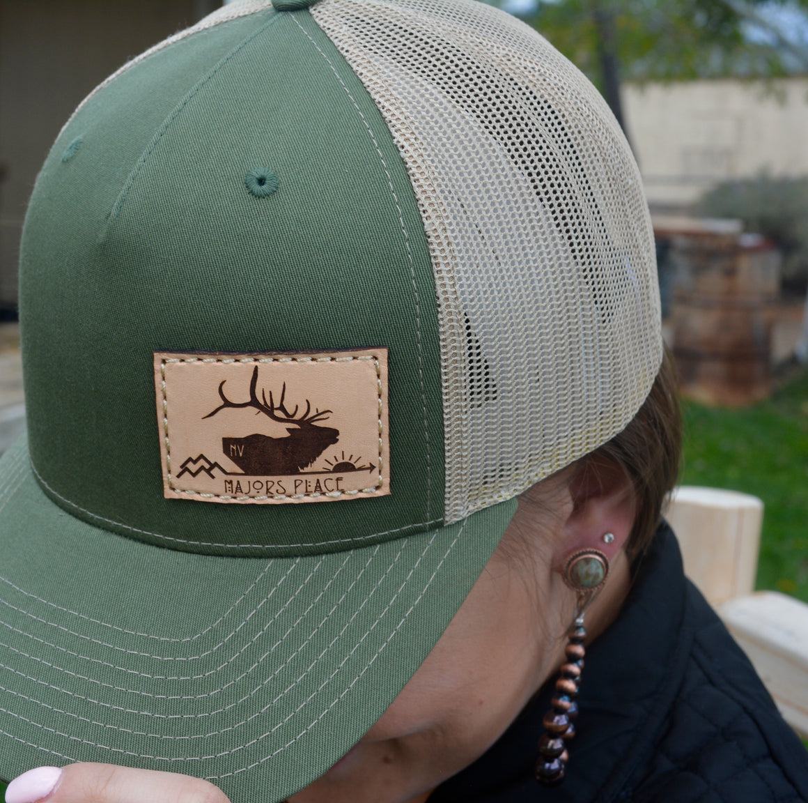 Five Panel Majors Place Olive/Tan Trucker Ball Cap