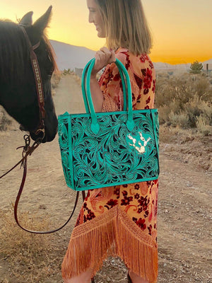 Custom Leather Tooled Handbag with Silver Cactus Detail