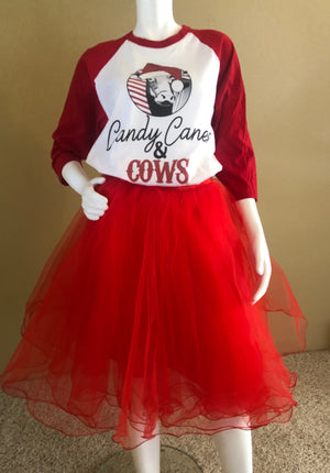 Candy Canes and Cows Raglan Tee