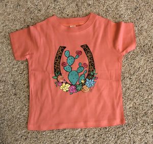 Floral Cactus Horseshoe Toddler Tee