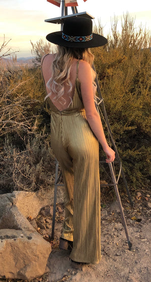 Gold Pleated JumpSuit