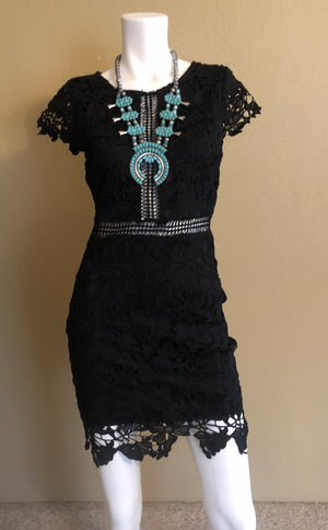 Little Black Dress with Crochet Detail