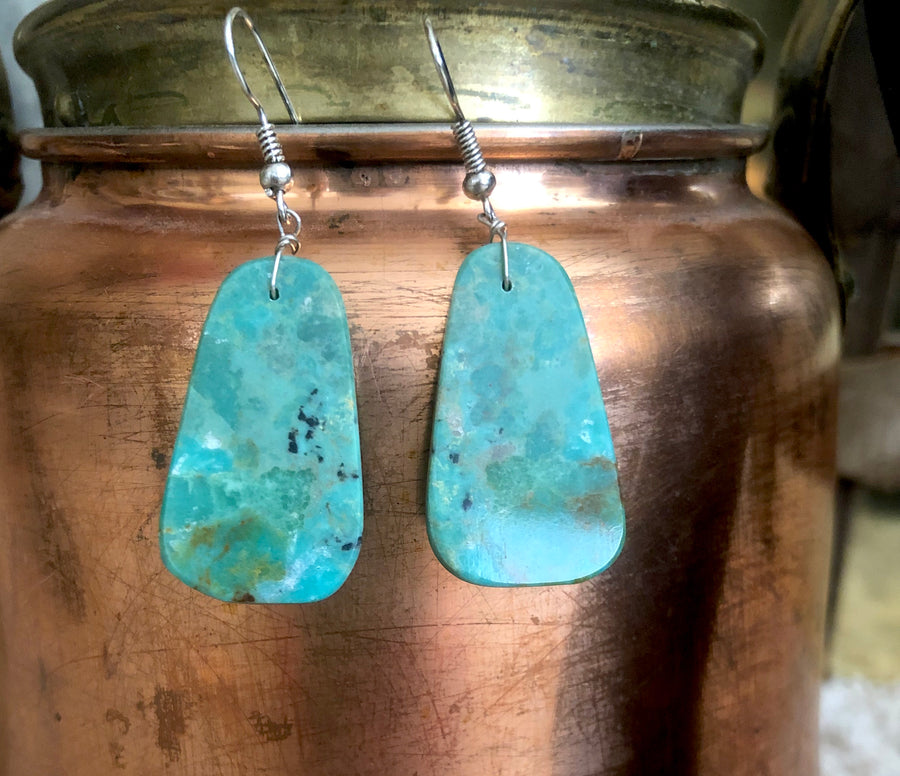 Authentic Turquoise Slab Earrings