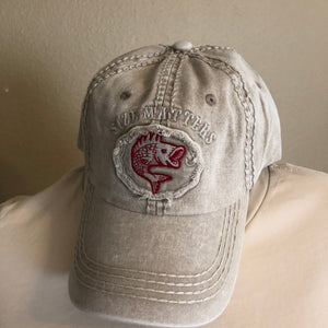 Size Matters- Distressed Fish Ball Cap