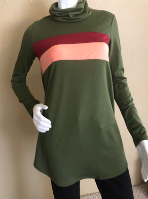 Green Sweater with Pink Color Blocks