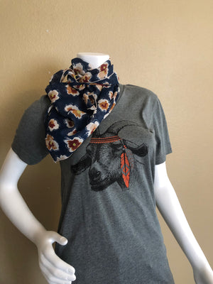 Navy Blue Floral Whipin Wild Rag