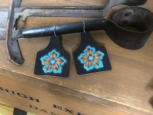 Custom Leather Tooled Flower Cow Tag Earrings