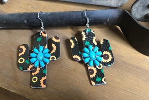 Cactus Shaped Earrings with Sunflowers and Natural Turquoise Stone