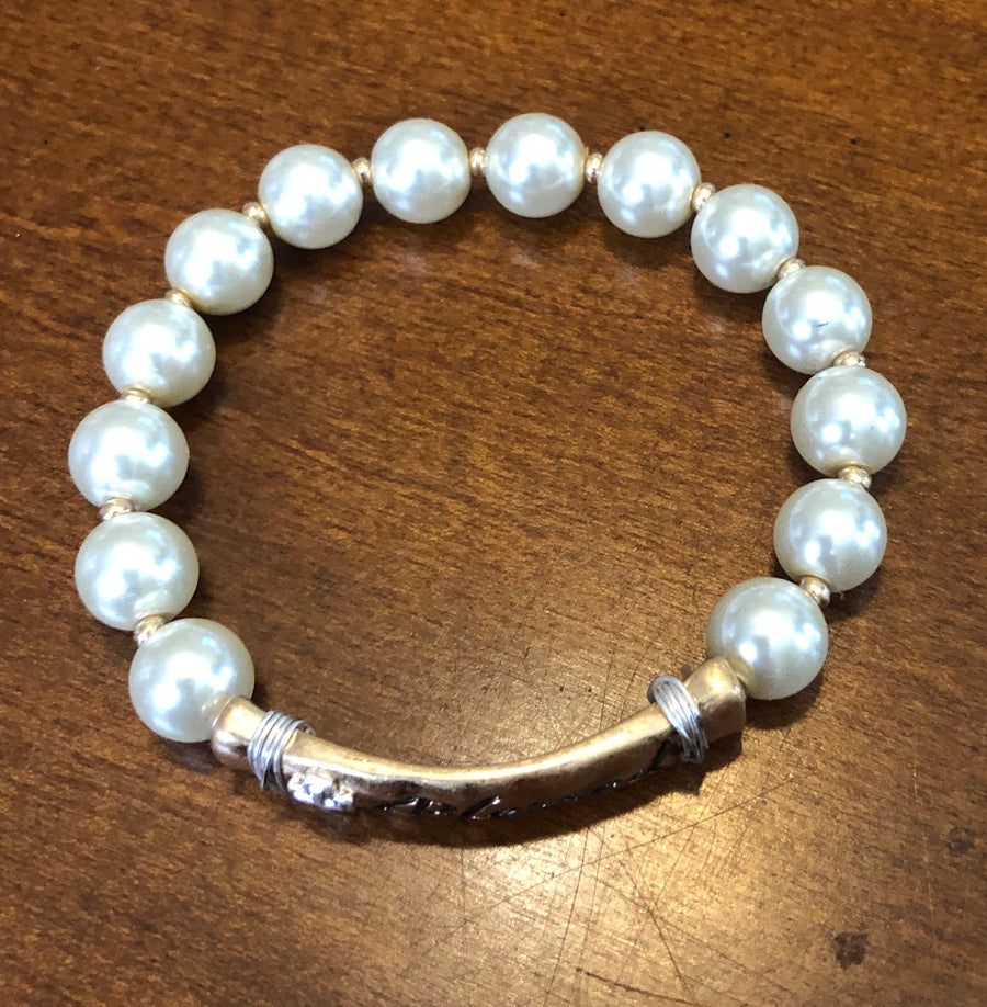 """Blessed"" Pearl stretch bracelet"