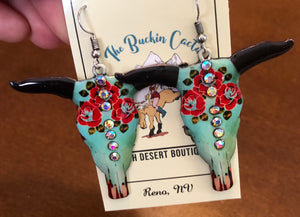 Western Large Steer Head Earrings
