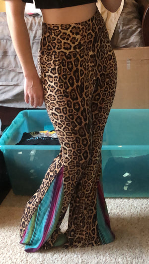 Leopard Pants with Serape Flare Sides